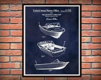 Patent 1964 Lone Star Aluminum Boat - Art Print  - Wall Art - Nautical - Marina Wall Art - Fishing Boating Enthusiast - Medallion Boat