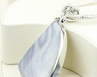 3 Inch Botswana Banded Agate 925 S0LID Sterling Silver Pendant + 4MM Snake Chain & Free Worldwide Shipping P3711