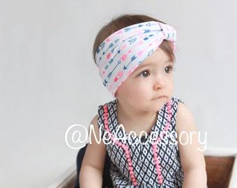 Baby Turban, Turban Headband, Turban Head Wrap,Toddler Turban, Infant Turban Headband, Urban Turban / Arrows Print Turban Head Wrap