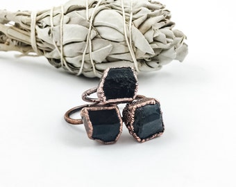 Black Tourmaline Ring | Rough Black Tourmaline | Raw Black Tourmaline Ring | Electroform Rings | Crystal Ring | Stone Ring | Aged Copper