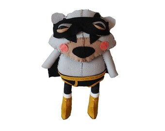 Bat Bear - handmade plush creature superhero plushie toy (inspired by Batman) - unique birthday gift