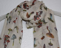 Mushroom scarf, Beige Mushroom Scarf,  Spring Scarf, Summer Scarf, Autumn Scarf, Gift For Her, Womens Gift, Mushrooms, Beige Accessory