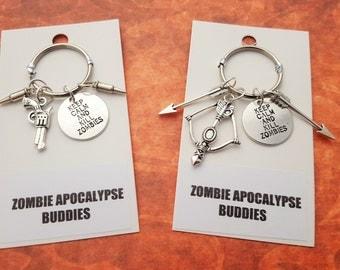 Zombie Apocalypse Keyrings, Friendship Keychains, Valentine's Gift, Zombie Apocalypse Buddy, Zombie Apocalypse Partner, Dead Walking, Funny