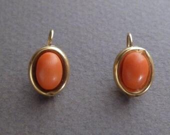 Antique 18 K coral earrings