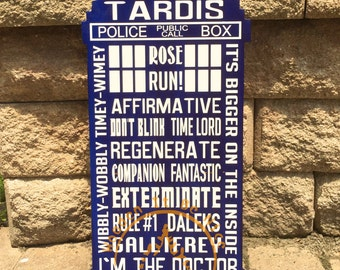 Tardis, Subway Art, Doctor Who, Hand Painted, Wood Sign