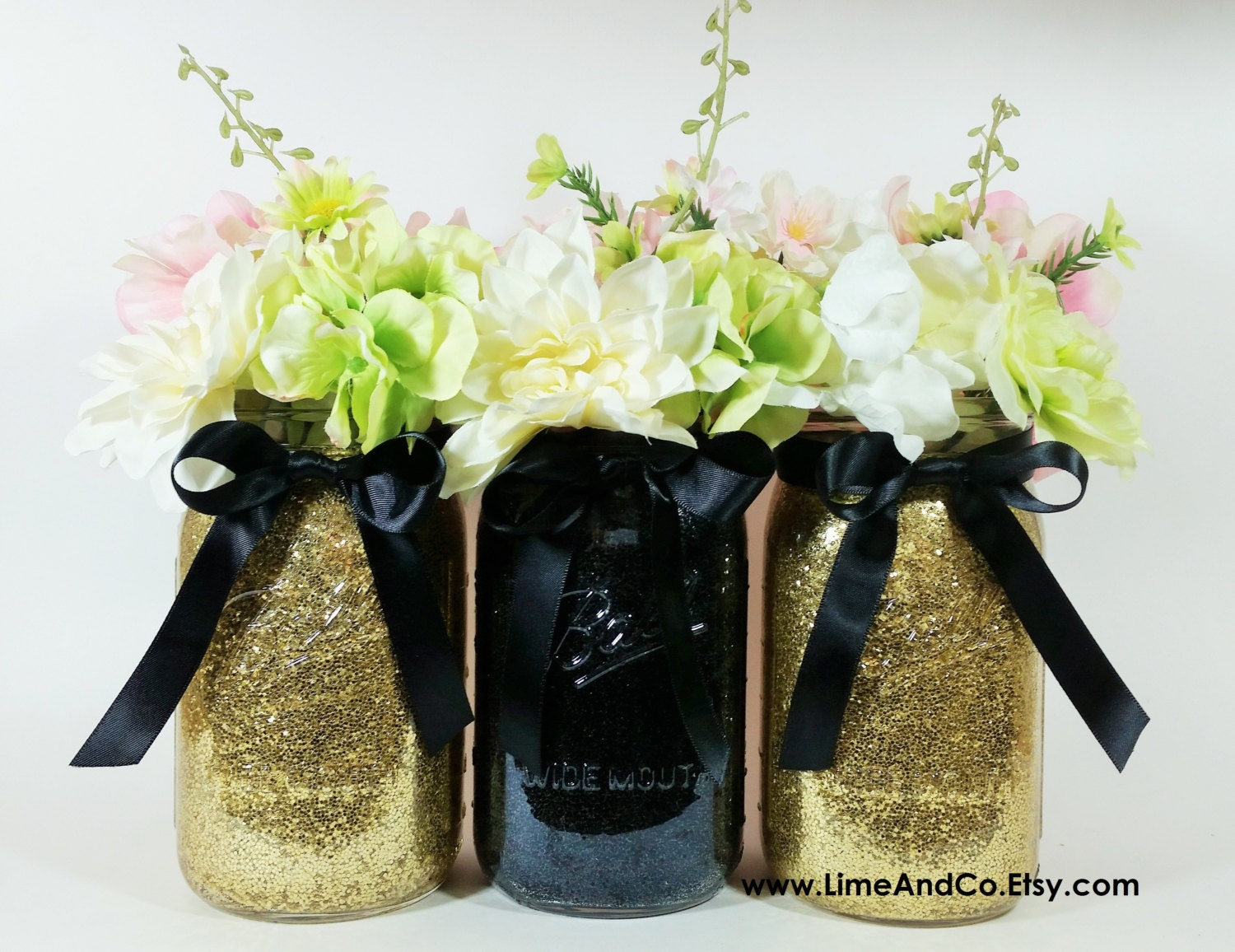 Mason jar wedding centerpieces black and gold centerpieces zoom dhlflorist Image collections