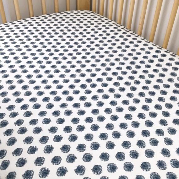 Crib Sheet >> Dare Daring Dots in Navy >> Fitted Crib Sheet>> Baby Toddler Bedding >> ready-to-ship