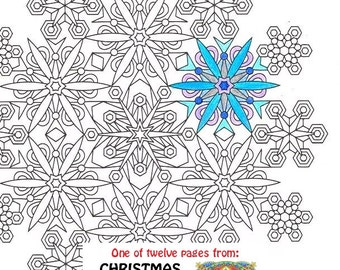 Mandala Coloring Page Ice Wreath printable winter wreath