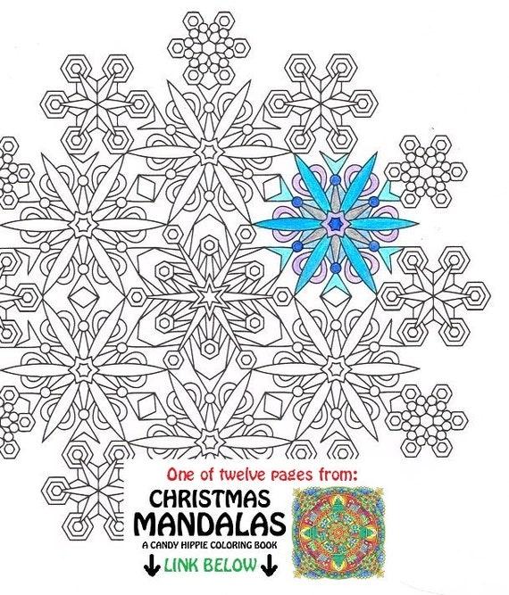 Christmas Mandala Coloring Page Snowflakes printable