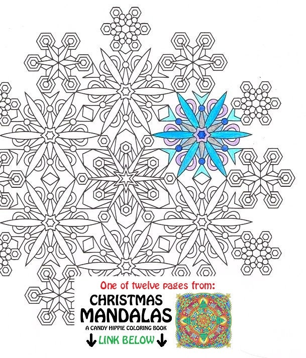 christmas mandala coloring page snowflakes printable. Black Bedroom Furniture Sets. Home Design Ideas