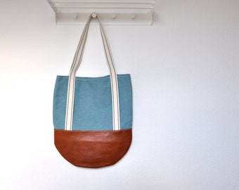 genuine leather bag, leather canvas tote, tote bag, large canvas tote, tote bag, shoulder bag, handmade tote, market bag, everyday tote