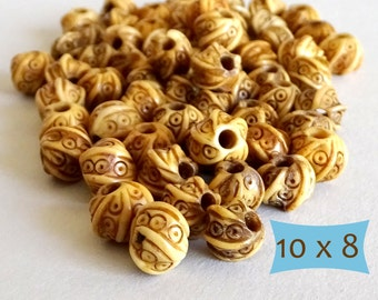Spiral Carved Bone Rondelle Beads-- 5 Pcs | DBN130-5
