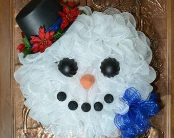 White Christmas Snowman Winter Holiday Mesh Wreath