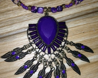 southwest purple and pewter necklace