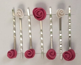 Pink & White Rose Bobby Pins Set of Seven