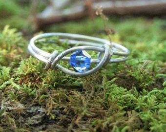 September Birthstone Ring ~ Sapphire ring ~ blue ring ~ deep blue ring ~ wire ring ~ stainless steel ring ~ birthstone ring ~ crystal ring