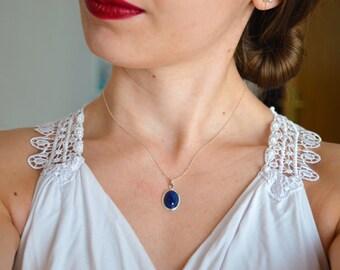 Gemstone necklace, Blue agate necklace, Protection necklace, Agate necklace, Agate gemstone necklace, Courage necklace, Blue agate gemstone