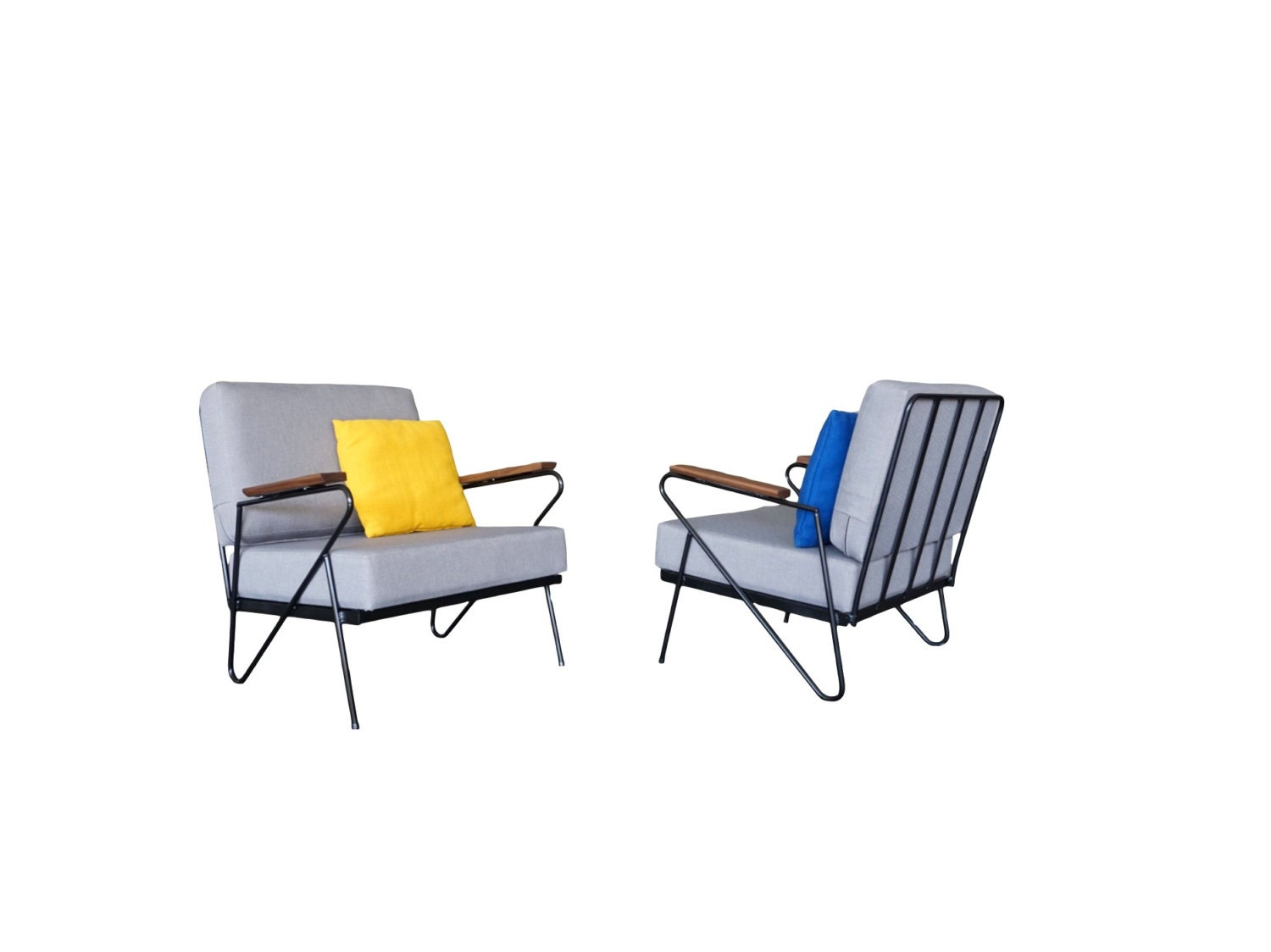 Iron Modernist Lounge Chairs