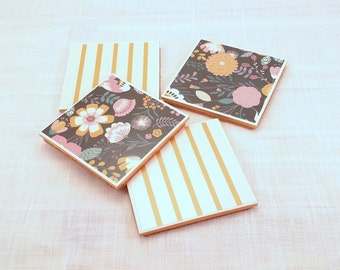 Wood Coasters - Wooden Coasters for Drinks - Coaster Set - Wood Drink Coaster Set - Botanical Decor - Gold and White Decor - Drink Coasters