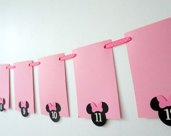 monthly photo banner - NB to 12 months - Minnie mouse themed banner - First birthday