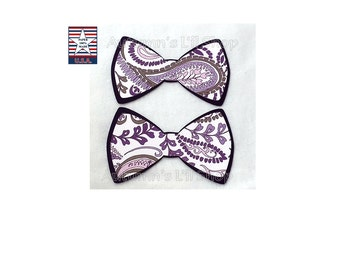 Purple Bowtie, Paisley Paper Bow Confetti, Baby Girl Shower, Garden Party, Purple Cupcake Topper, Wedding Card Box, Dog Party - 24 Ct.