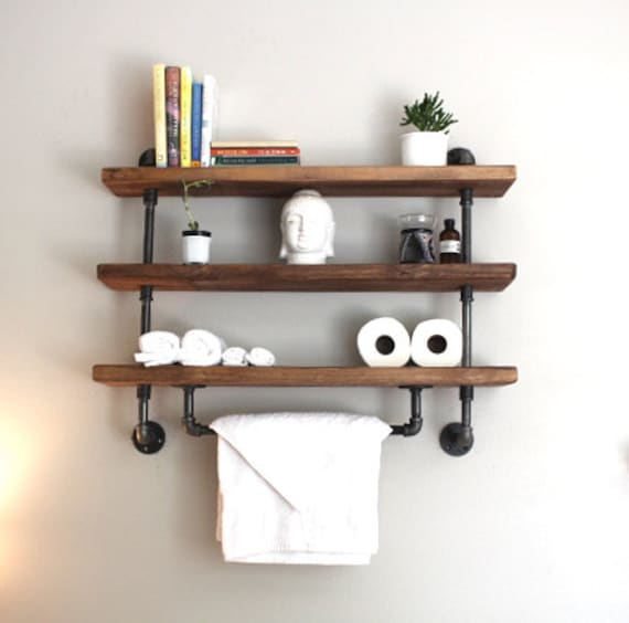 Industrial pipe shelf, Bathroom shelves, Kitchen shelves, Entryway ...