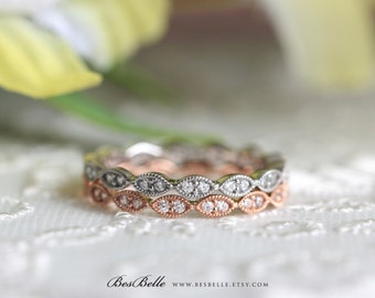 Two Tone Stacking Art Deco Full Eternity Ring Set-Brilliant Cut Pave Diamond Simulants-Rose Gold Plated-Sterling Silver [6053-BTT]