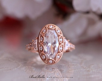 5.0 ct.tw Art Deco Ring-Engagement Ring-Oval Cut W/ Half Moon Stones-Bridal Ring-Anniversary Ring-Rose Gold Plated-Sterling Silver [8819RG]