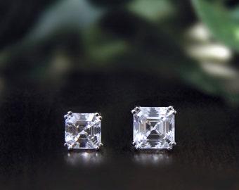 5.0~8.0mm Stud Earrings-Asscher Cut Diamond Simulants-Bridal Earrings-Wedding Earrings-Anniversary Gift-Dazzling-Sterling SIlver [4207]