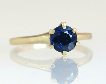 Vintage Estate 14K Yellow Gold .87ct Genuine Blue Sapphire Engagement Ring 2.5g
