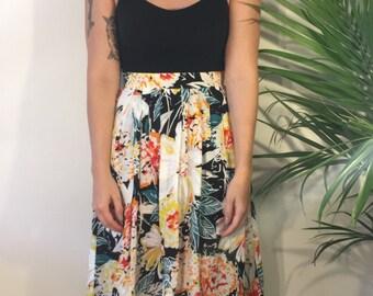 Long Floral High Waist Skirt