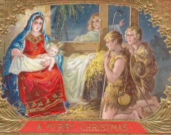 1911 Vintage Christmas Baby Jesus Postcard Digital Image Digital Download Clip Art 300dpi
