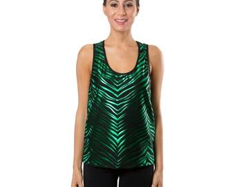 Workout Fashion Women's Black/Green Zebra Tank Top