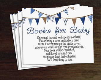Flag Books for Baby Insert, Bring A Book Insert, Book Request Boy Baby Shower Printable, Bring a Book Instead of a Card, Book Request Card