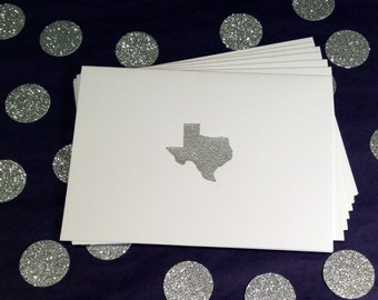 Texas/Lone Star State Folded Note Cards and Envelopes - Silver and White - Set of 8