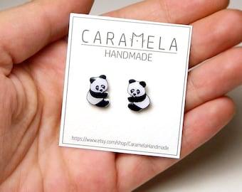 Panda Stud Earrings Panda Hanging stud earrings Panda Bear Earrings Wild animals stud earrings Animals stud earring GIFT