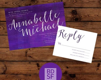 Printable Wedding Invitations // Watercolor Lettering Design // Chose Wording and Colors // Fully Customizable