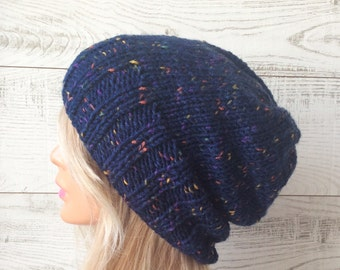 Free Shipping / Knit hat, womens hat, mens hat, knit slouchy hat, chunky knit hat, knit slouchy hat beret
