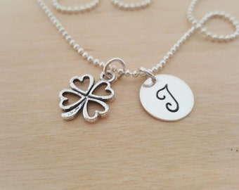 Lucky Clover Necklace - Clover Charm - Personalized Necklace - Custom Initial Necklace - Initial Jewelry - Monogram Necklace - Gift for Her
