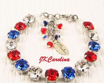 HOLIDAY Bracelet - Political Bracelet - PATRIOTIC Crystal Bracelet - Red Swarovski Crystal Bracelet - Swarovski Crystal Bracelet