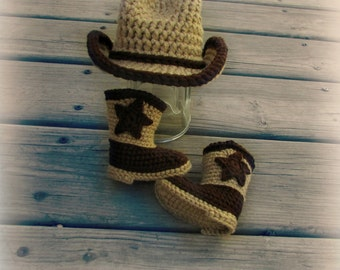 Baby Cowboy Hat and Boots Set.