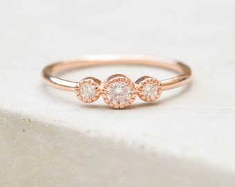 Dainty, Feminine 3-Stone Milgrain Bezel Stacking Ring with thin band - ROSE GOLD - fashion ring, promise ring, wedding engagement ring