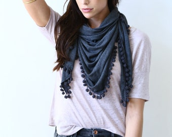 BAMBOO Piper Triangle Winter Scarf with pom poms, Charcoal