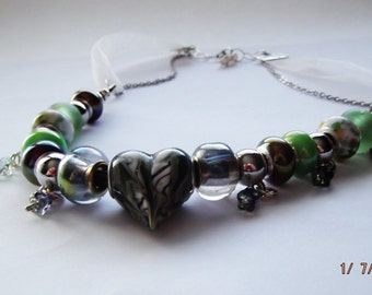 Euro Beaded Green Heart Leather Organza Ribbon Stainless Steel Chain Necklace by Nickole Schmidt