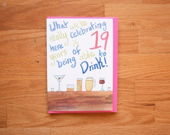 40th Birthday card- Drinking Card- Over the hill card- greeting card- fortieth birthday, 40th birthday card, card for 40th birthday, card