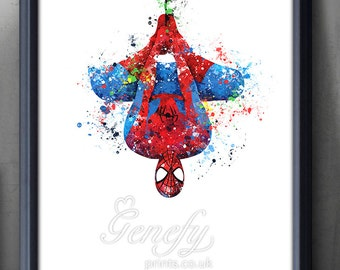Superhero Spiderman Watercolor Poster Print - Wall Decor - Artwork- Painting - Illustration - Home Decor - Kids Decor - Nursery Decor