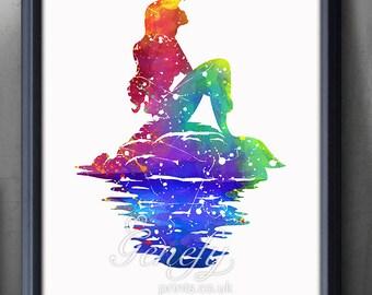 Disney Ariel Little Mermaid Watercolor Poster Print - Wall Decor - Artwork- Watercolor Painting - Watercolor Art - Kids Decor- Nursery Decor