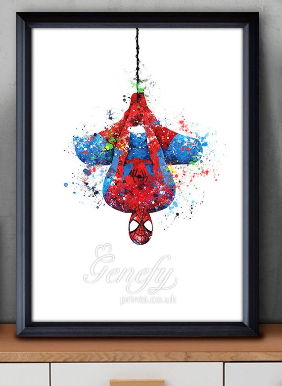Https Www Etsy Com Listing 255138055 Superhero Spiderman Watercolor Poster