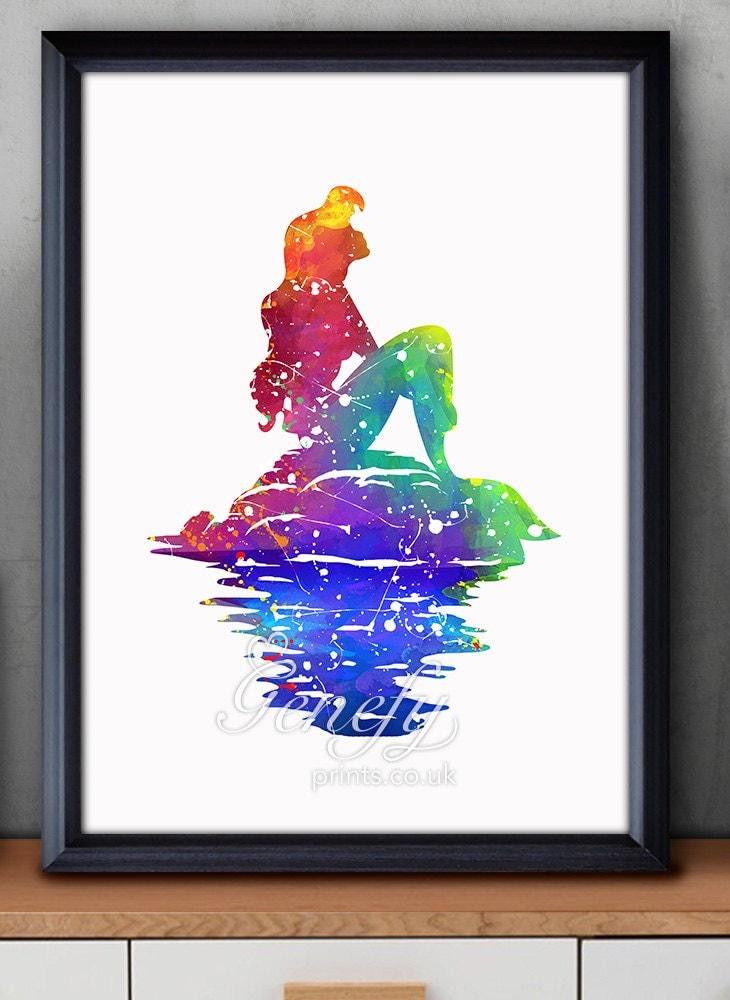 Disney Ariel Little Mermaid Watercolor Poster Print Wall