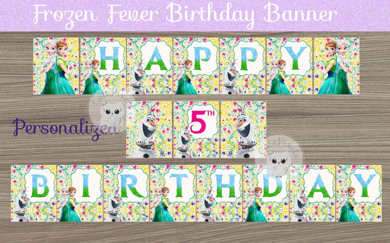 Frozen Fever Birthday Banner Frozen Party Banner Frozen